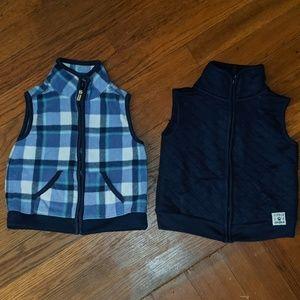 2 Carter's vests, plaid fleece & quilted navy blue